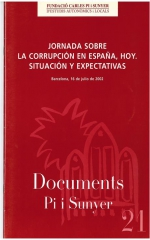 21. Jornada sbre la corrupción en España, hoy. Situación y expectativas