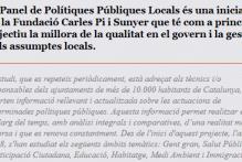 Convocatoria específica para la concesión de becas de colaboración en apoyo a la investigación en la Fundació Carles Pi i Sunyer para el Panel de Polítiques Públiques Locals