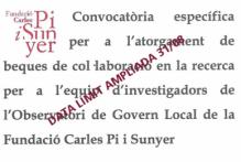 Convocatoria específica para la concesión de becas de colaboración en la investigación para el equipo de investigadores del Observatorio de Gobierno Local de la Fundació Carles Pi i Sunyer
